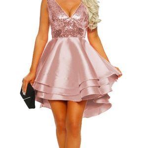 sequins pink ruffle dress